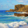 View of the Halona Blowhole Lookout from Sandy Beach - Oahu, Hawaii