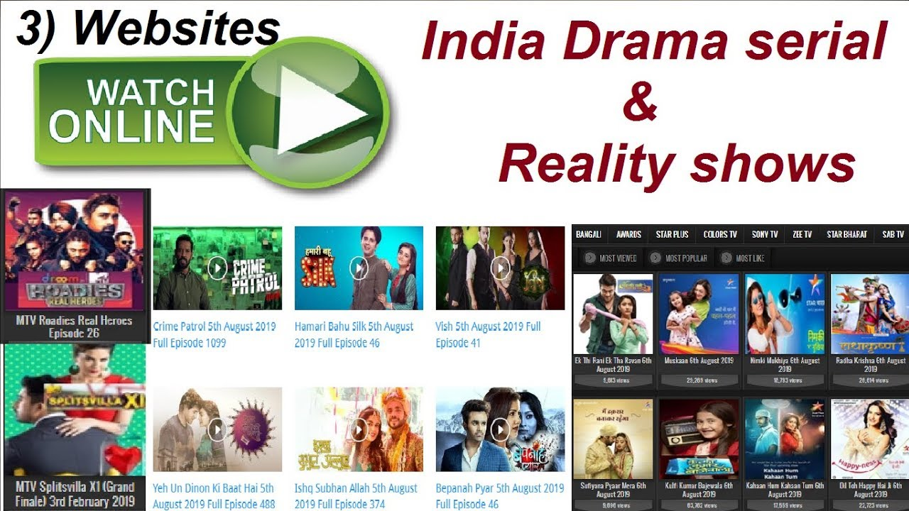 3 websites indian drama serial & reality shows watch online | Vicxacle XR