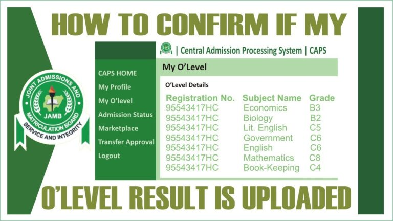 How to Check If My Olevel Result has been Uploaded to JAMB Portal