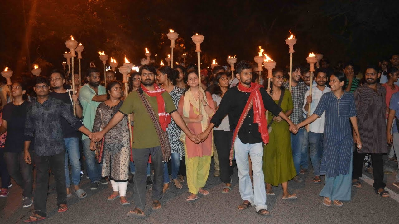 Massive March by the United Left in JNU   JNUSU Elections 2019-20