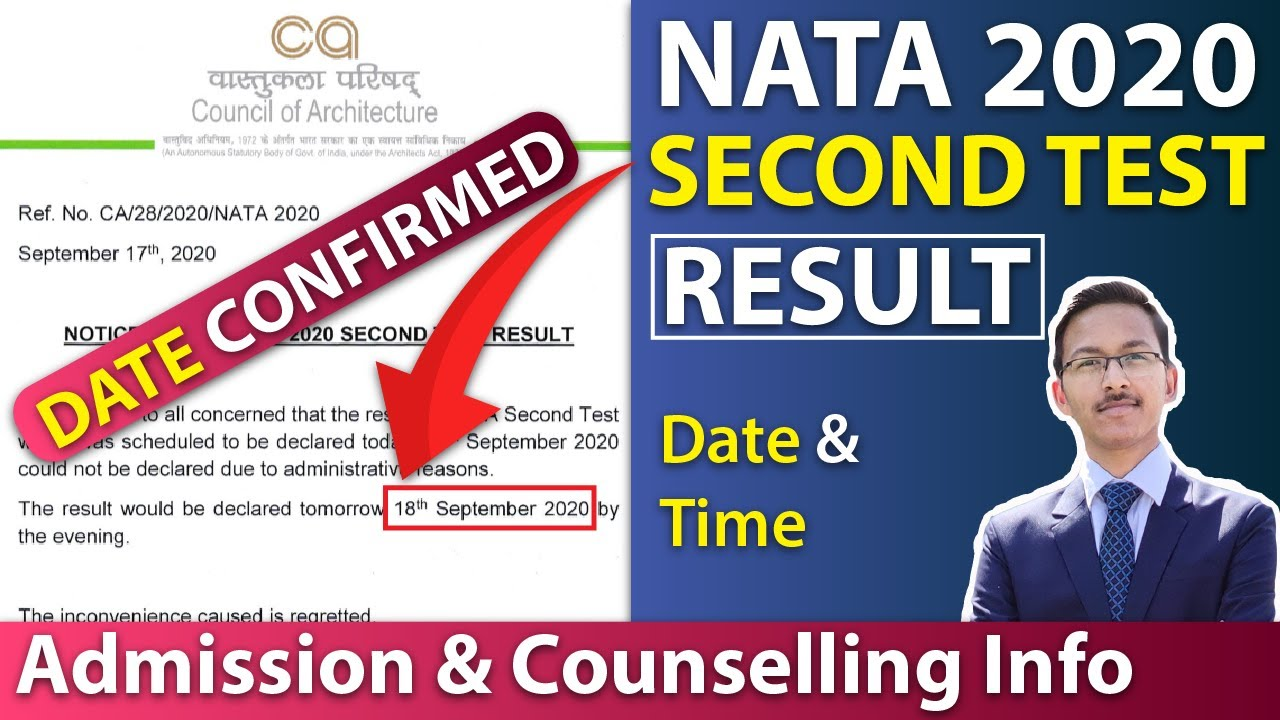 NATA 2020 Second Test Result Date and Time | NATA 2020 Result ,Counselling & admission process 2020