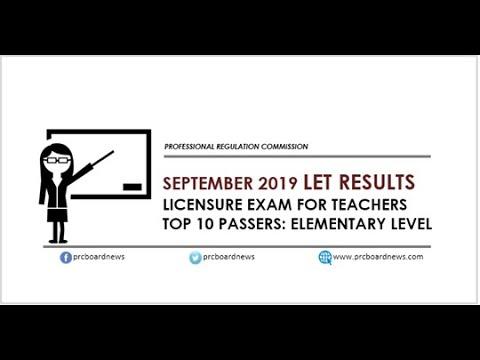 September 2019 | LET Elementary Teachers Board Exam | TOP 10